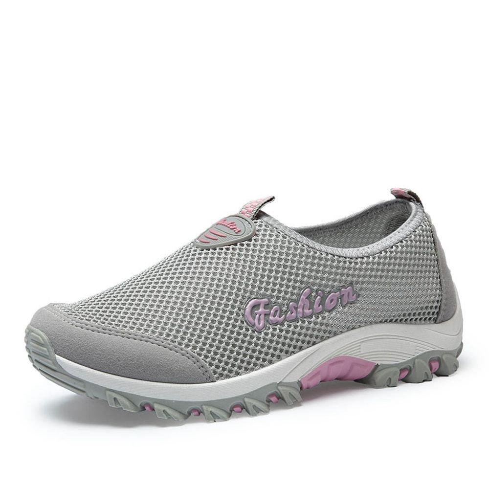 Zapatos atléticos para Mujer 2018 Primavera, Verano, Otoño Zapatillas de Deporte de Malla Casual - Zapatillas de Deporte Transpirables Gran Tamaño para Mujer (Color : Gris, Tamaño : 35) 35|Gris