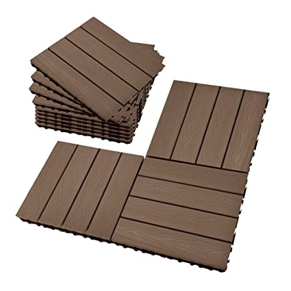 Set Of 12 Interlocking Patio Flooring Tiles In Coffee, Indoor Outdoor Deck  And Patio Flooring