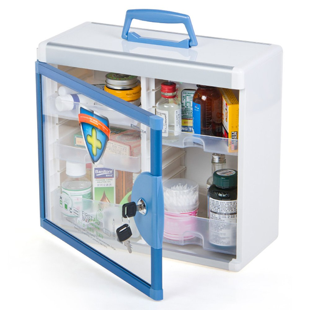 Glosen First Aid Box Lockable Medicine Box with Wall Mounted Function 13.6x6.5x12.4 Inch Blue by Glosen (Image #3)