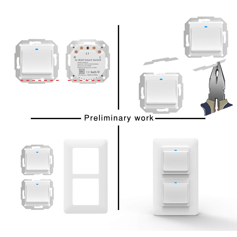 No Se Sequiere Neutral Interruptores WiFi Inteligentes con Control Remoto y de voz Compatibles con Alexa/&Google Home 3 Piezas Interruptores Inteligentes y Rel/é Incorporado 1 Way 1//2//3 Gang Negro