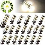 1156 bulb white - AUTOSAVER88 [20 Pack] Superbright 1156 LED Light Bulb Warm White BA15S 5050 [18 SMD] Car Trailer LED Light 7503 1141 1073