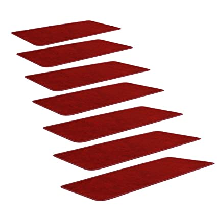 SLB Works Polypropylene Fiber Stair Treads Carpet Solid Red, with Self-Adhesive Side Nylon Buckle Mounting, Non-Slip Carpets 9.4 L x 25.6 W, Stair Tread Mats, Set of 7