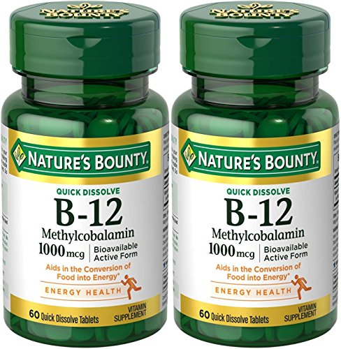 Natures Bounty Methylcobalamin B12 Microlozenge Tablets, 1000 mcg, 120 Count (2 X 60 Count ()