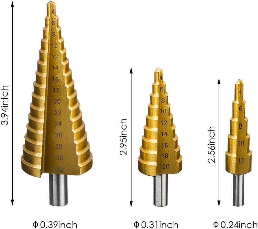 Drado 4 pcs Foret Fraise Meche Etage Triangle Conique Titane avec Poin/çon Centre Automatique