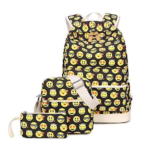 LLygezze Kids' Schoolbag Backpack Set Cute Emoji Canvas Bookbag Satchel Large Size, Backpack + Shoulder Bag + Purse