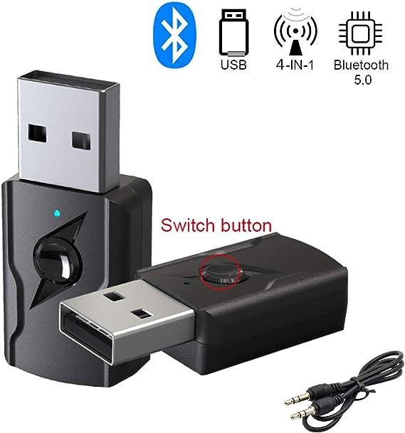 GeekerChip Receptor/Transmisor Bluetooth 5.0 USB,Transmisor Bluetooth TV,Adattatore Wireless Portatile per Casa/Auto/Laptop, Jack AUX-in 3,5mm Denoise HiFi Music: Amazon.es: Electrónica