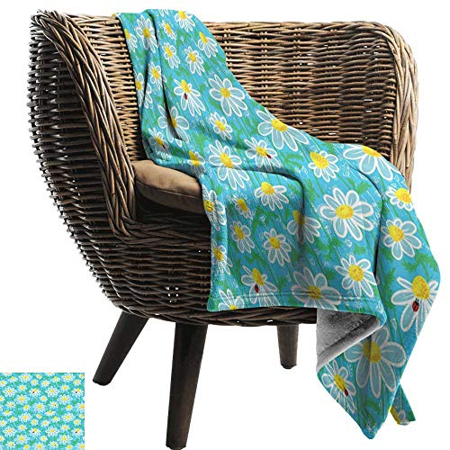 BelleAckerman Flannel Throw Blanket,Yellow and Blue,Meadow Art Pattern with Ladybirds and Chamomile Daisy Blossoms,Aqua White Marigold,Winter Luxury Plush Microfiber Fabric 60