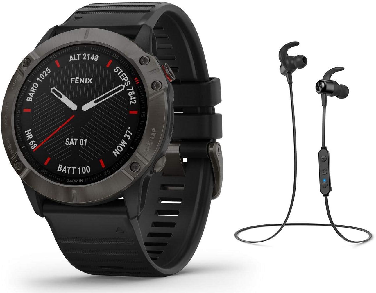 Garmin Fenix 6X Pro Saphir/Sapphire - Reloj Deportivo GPS con Auriculares Bluetooth, Color Negro