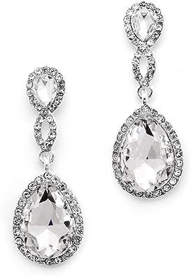 Clear Crystal Earring,Valentines Day Gift,Feminine Dangle drop earring,Glass quartz stone earring,Bridal Teardrop Earring,Wedding