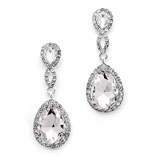 6f3502893 Mariell Clear Crystal Wedding Dangle Earrings for Women, Bridal and Prom  Jewelry, Infinity Symbol