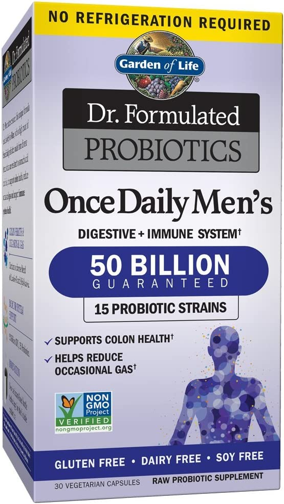 Amazon Com Probiotics For Men And Adults Garden Of Life Dr Formulated Once Daily Men S Probiotics 50 Billion Cfu Digestive Health Daily Probiotic For Constipation Relief With Organic Prebiotic 30 Capsules Health
