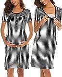 Ekouaer Women's Maternity Sleepwear Nursing Nightgown Striped Breastfeeding Sleep Dress Shirts