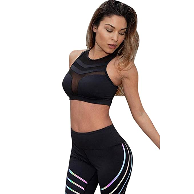 Women Fitness Leggings High Waist Yoga Running Gym Sports Pants Trousers Bra Top