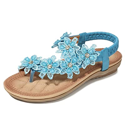 Dizadec Sandals for Women Flat, Womens Flat Sandals Summer Beach Rhinestone Bohemian Slip on Flip Flops Glitter Shoes: Clothing