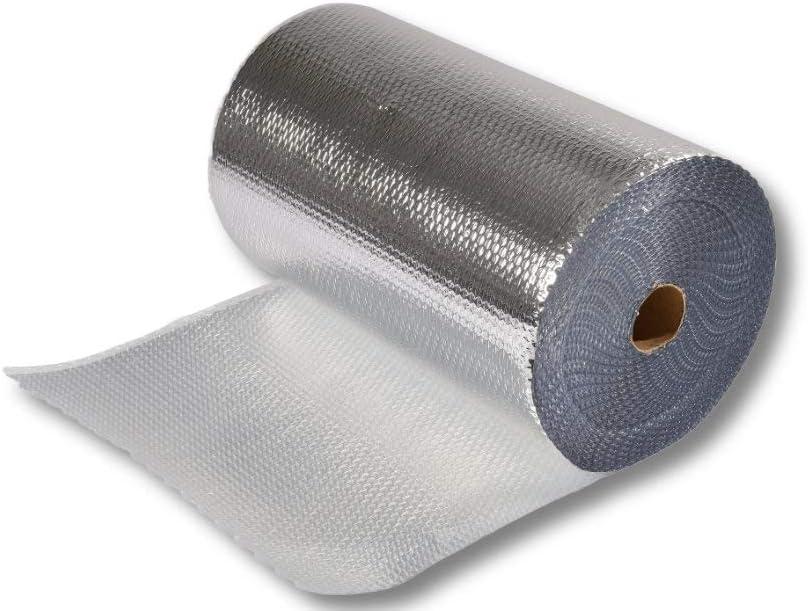 Printbox - Rollo de papel de burbujas (1,2 x 50 m = 40 m2, 250 µ, 4 capas, para bolsas de transporte y bolsas de alas, aluminio), color plateado