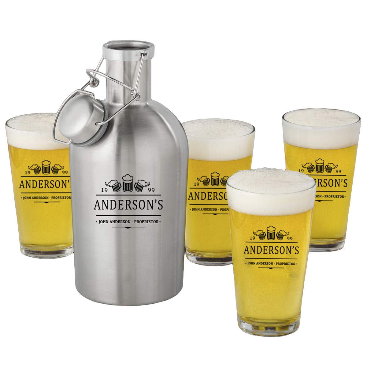 Personalized Stainless Steel Beer Growler with Pint Glass Set JDS GC1437