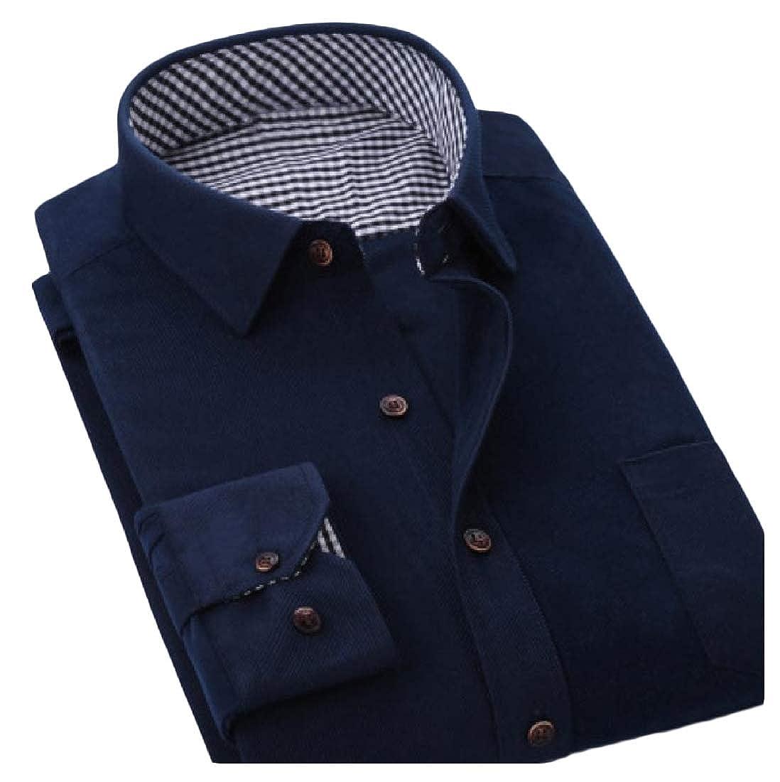 YUNY Men Tops Corduroy Button-Down-Shirts Business Dress Shirts One M