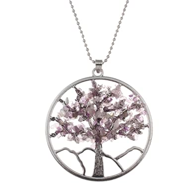 Tree Of Life Necklace Silver Plated Amethyst Gemstone Pendant Family Tree Yggdrasil Necklace 22 Inch LAGVvCQ89q
