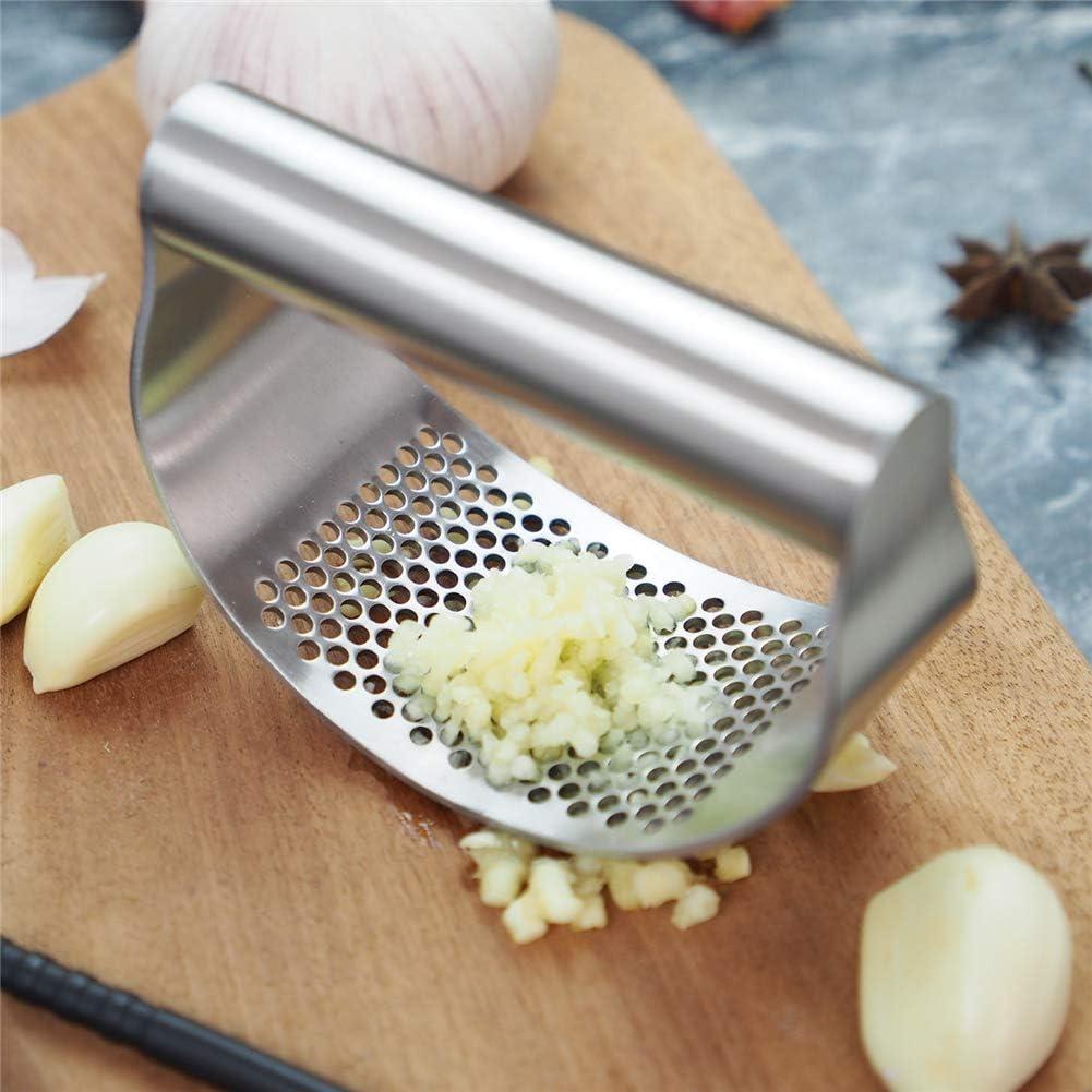 3-piece Mini Stainless Steel Garlic Press Circular Hand-held Garlic Press Manual Ginger and Garlic Masher Manual Juicer Kitchen Utensils (1 pcs)