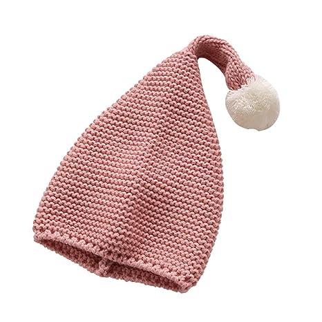 YeahiBaby Sombrero de Punto Diseño de Duende Papá Noel con Pompones ...