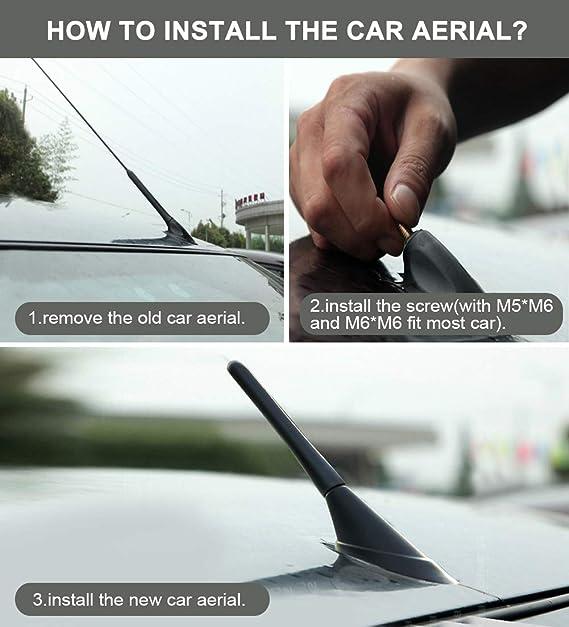 AOBETAK Car Aerial - Antena corta universal de coche, 2,5