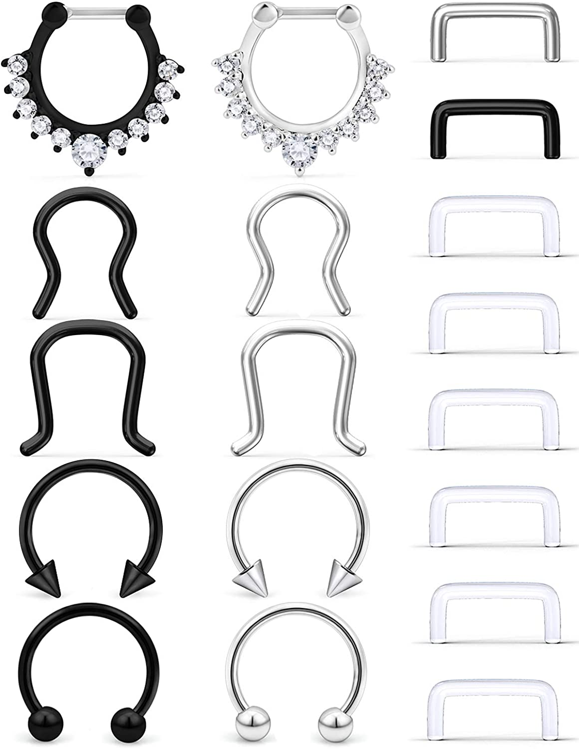 SCERRING 16G Septum Jewelry Stainless Steel Hinged Seamless Nose Hoop Ring Cartilage Daith Tragus Clicker Rings Retainer Body Piercing Jewelry 18PCS