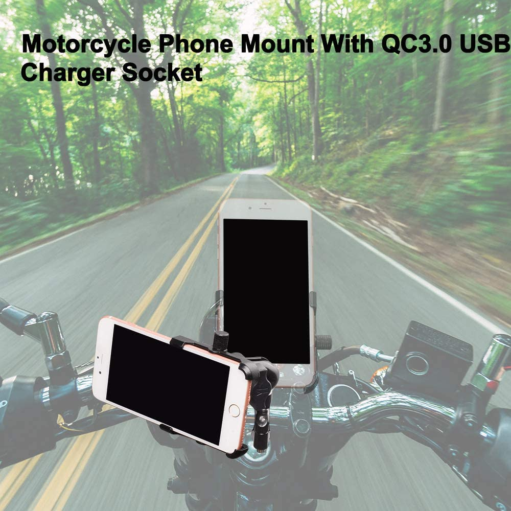 12mm 175 Size 90cm THK iMESTOU Motorcycle Phone Holder USB 3.0 Charger Handlebar//Rear-View Mirror Cellphone Mount Quick Charge Universal for iPhone /& Samsung Smartphones with max W L