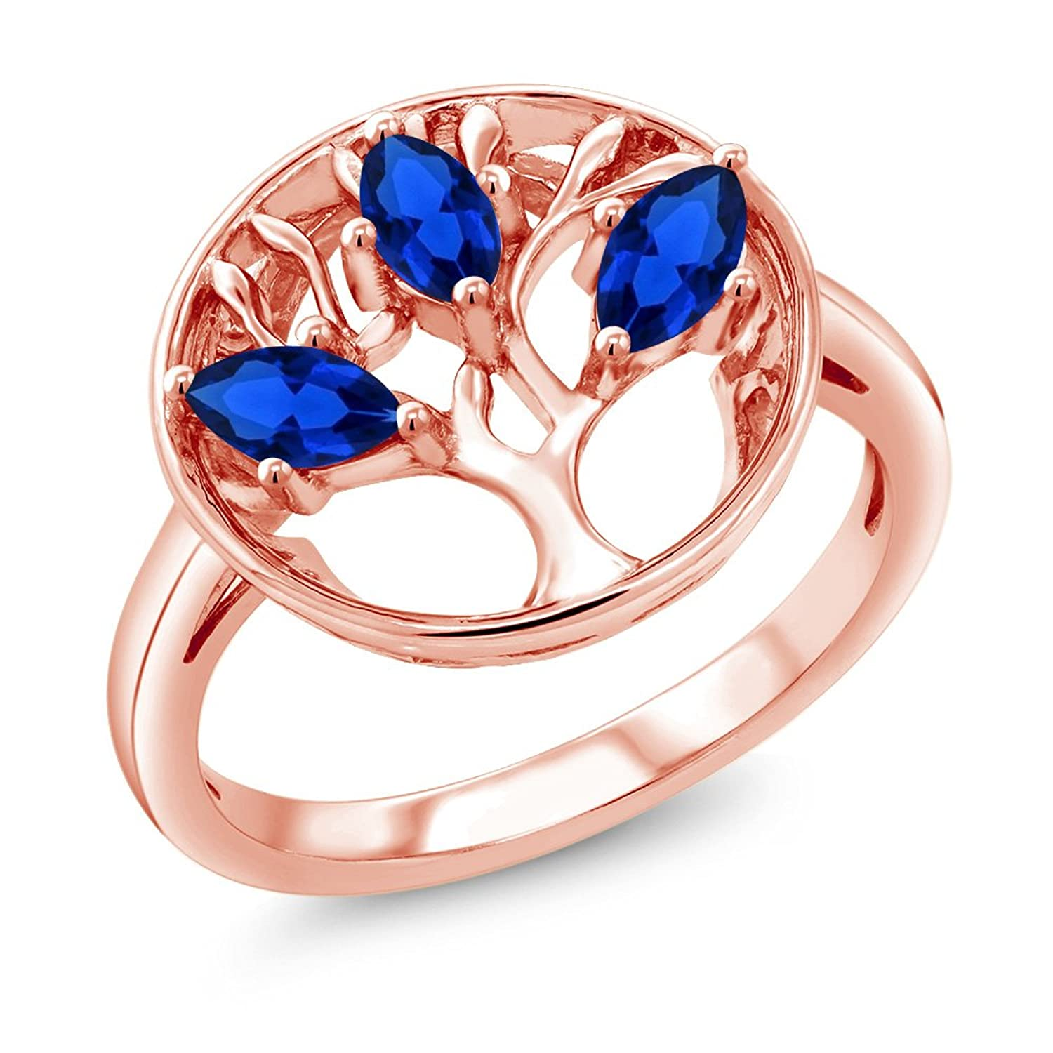 0.75Ct Marquise Blue Simulated Sapphire 18K Rose Gold Plated Silver 3-Stone Tree Of Life Ring (Available in size 5,6,7,8,9)