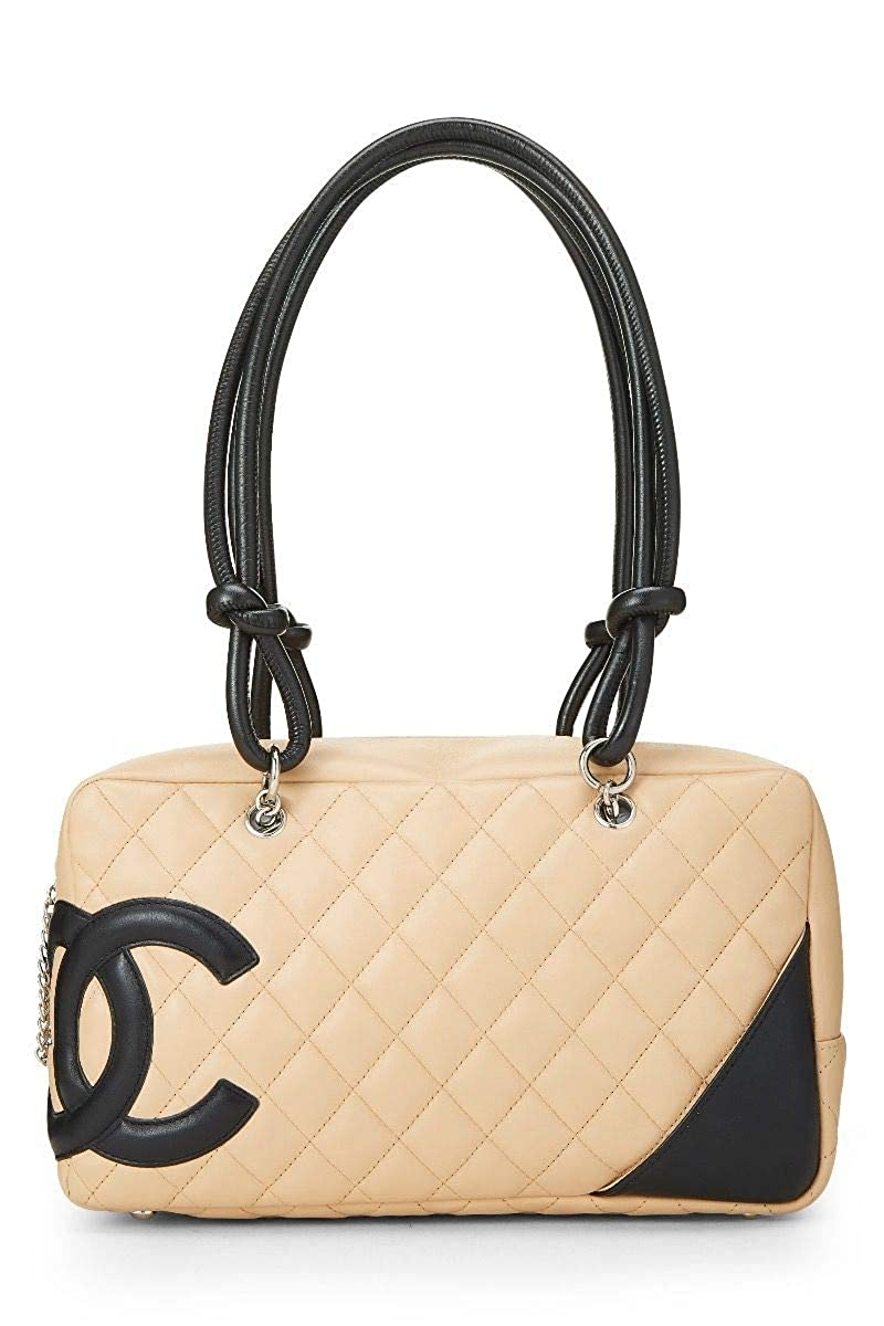 CHANEL Beige Quilted Calfskin Cambon Ligne Bowler (Pre-Owned)