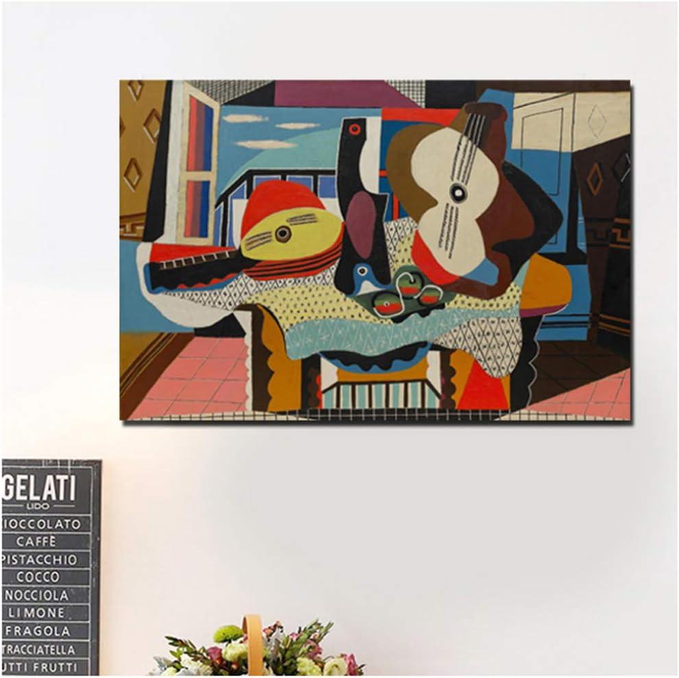 Pablo Picasso Mandolina y guitarra Lienzo Pintura Carteles Impresiones Mármol Arte de la pared Pintura Cuadros decorativos Decoración para el hogar-60x80cm Sin marco