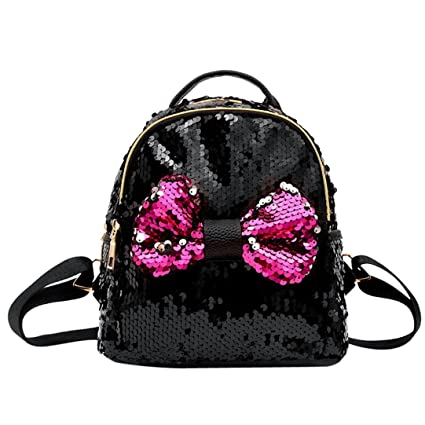 189f66b2f3 Fashion Girl Squins Bow Tie School Bag Shiny Backpack Satchel Large Tote  Women Trave Shoulder Bag