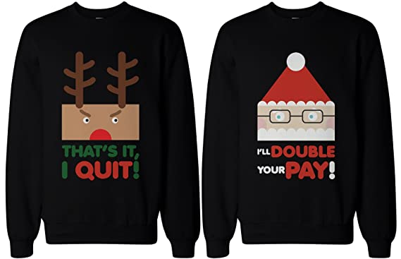 Amazon.com: Couple Sweatshirts - Rudolph and Santa - Funny Graphic ...