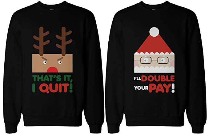 Couples Christmas Sweaters.365 In Love Couple Sweatshirts Rudolph And Santa Funny Graphic Sweaters For Christmas