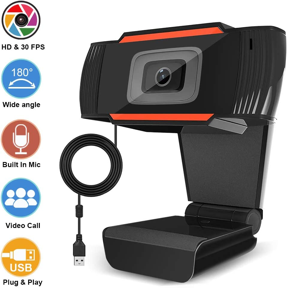 Black 5 Million Pixels and Auto Focus Streaming Computer Web Camera,USB PC Webcam for Video Calling Recording Conferencing,Gaming,Online Video Learning Webcam 1080P HD with Microphone