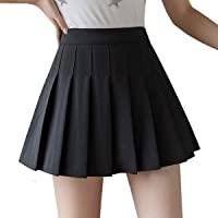 Girls Women High Waisted Pleated Skirt Plain Plaid A-line Mini Skirt Skater Tennis School Uniform Skirts Lining Shorts