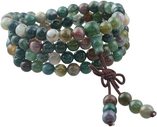 engraved jewelry stone sacred 108 gemstones Bracelet mala jade 108 mala yoga jewelry guru howlite placebo Blaster