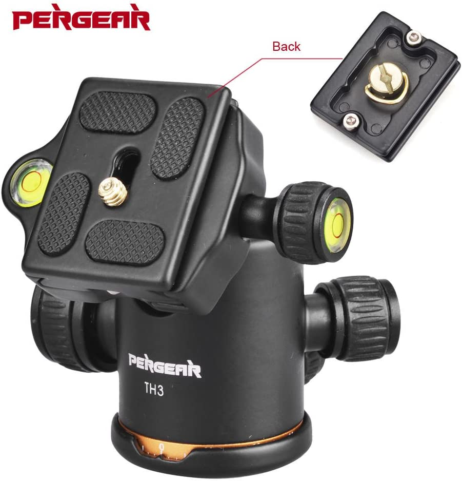 Pergear Heavy Duty Photography Camera TH3 Tripod Ball Head 360 Degree Fluid Rotation Tripod Ballhead with 2 Pcs Plate for DSLR Camera