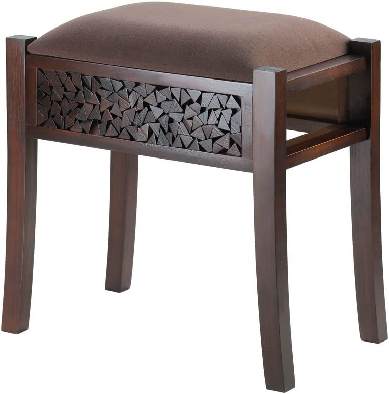Koehler Holiday Home Decor Regent Carved Wood Foot Stool Rich Chocolate Brown