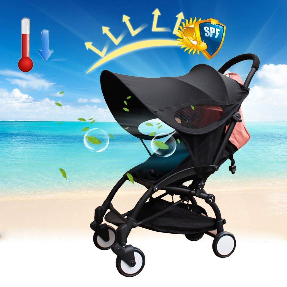 PROKTH Pram Canopy, Baby Stroller Sunshade Cover, Anti-UV Universal Baby Full Canopy Mosquito Net Sun Shield Protection Fabric Accessories
