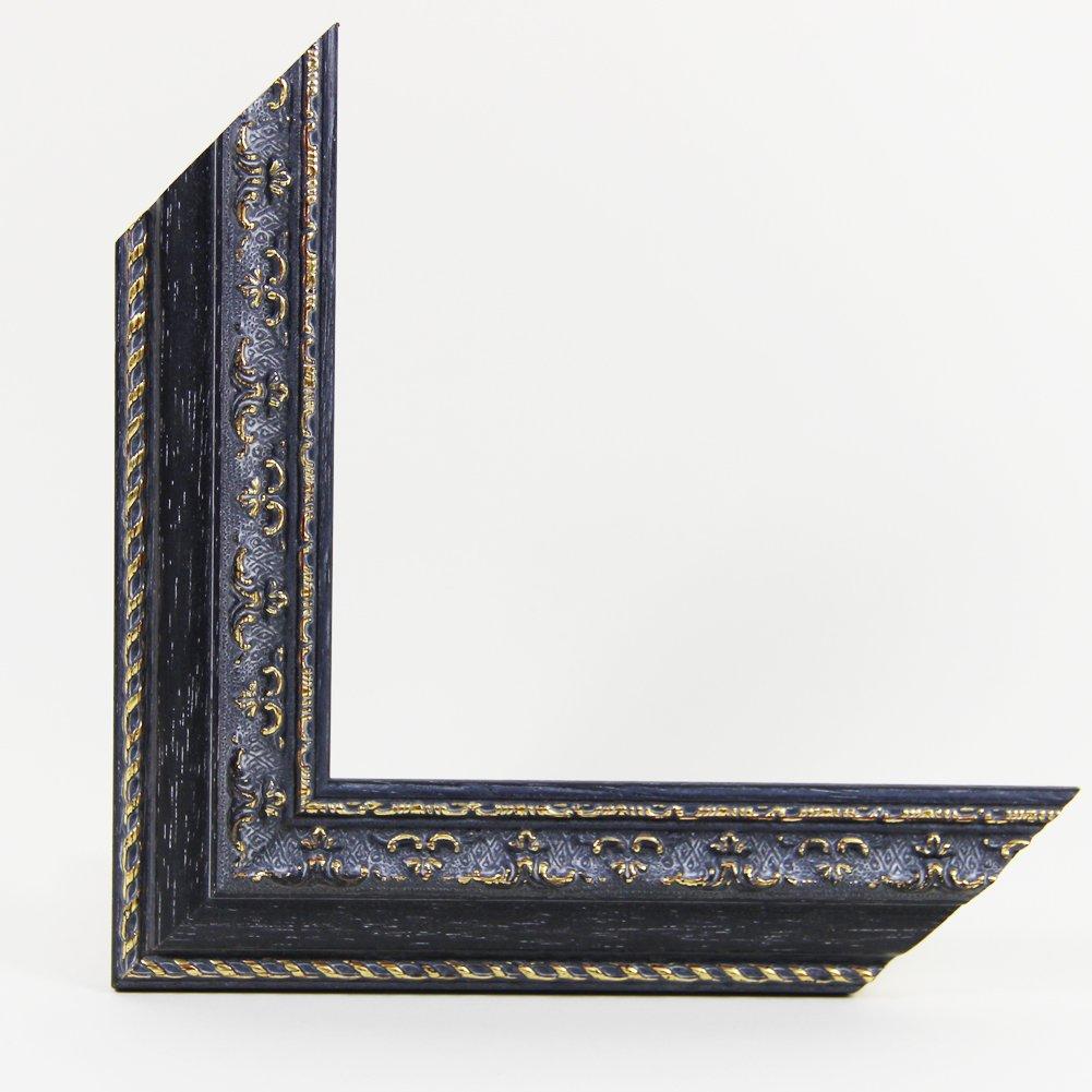 OLIMP-04 Bilderrahmen 60x87 cm Echtholz Barock in Farbe Antik Grau Gold
