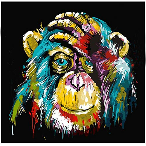 (5D Diamond Painting Kits DIY Full Drill Diamond Painting by Number Kits Crystal Rhinestone Diamond Embroidery Paintings Pictures Arts Craft for Home Wall Decor (Monkey))