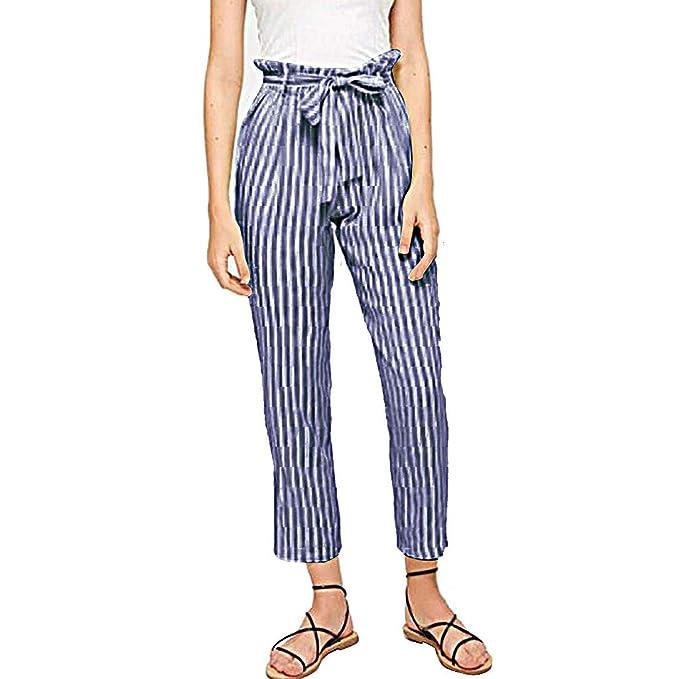 Jimmkey_Clothing Pantalones informales de verano de cintura alta ...