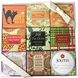 French Milled Botanical Soap Sampler Set in Nine Fabulous Scents, Individually Wrapped Vegetable Based Mini Soaps with Essential Oils, Shea Butter and Natural Extracts (Fall Fun)
