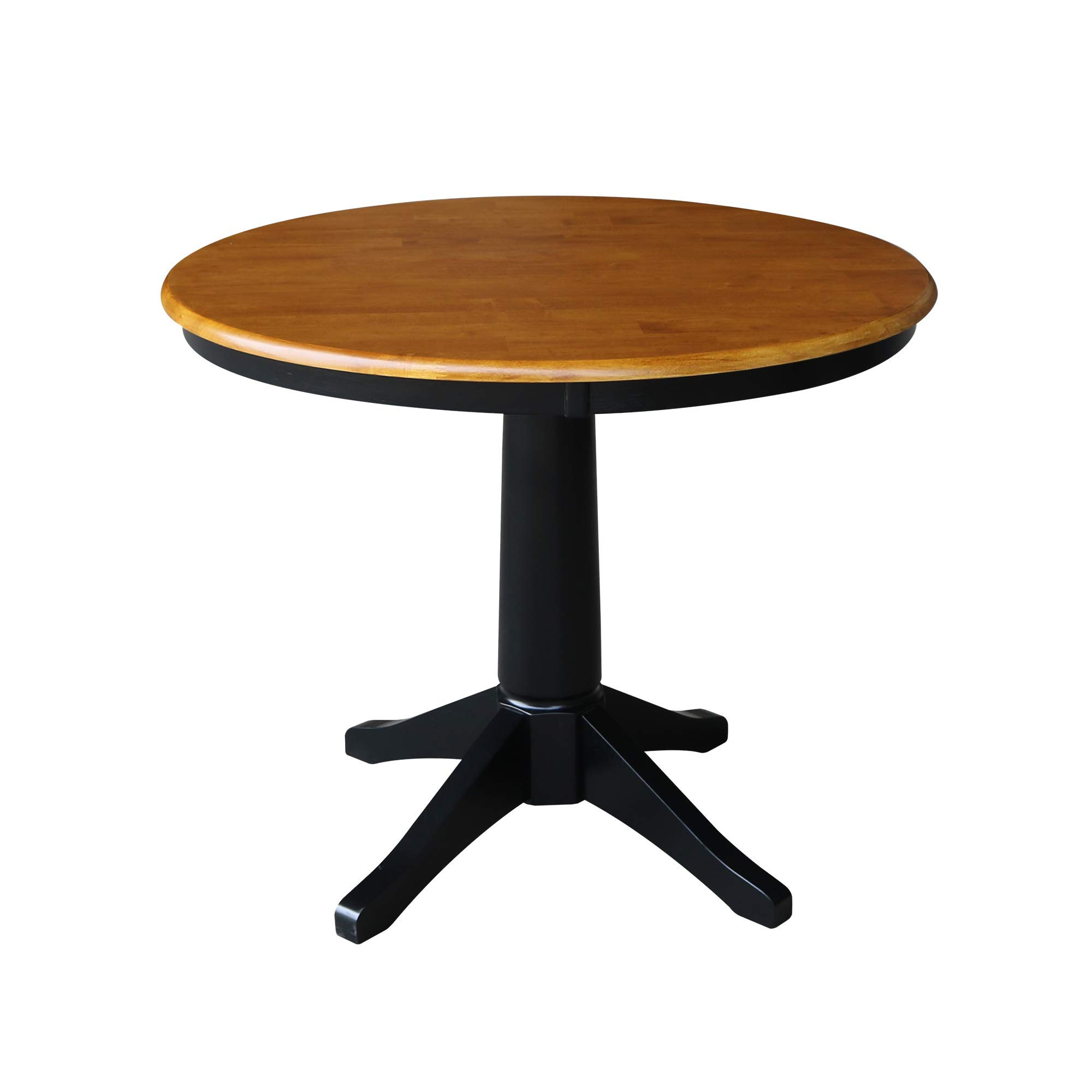 International Concepts K57-36RT-27B 36'' Round Top Pedestal Table-28.9'' H, Black/Cherry by International Concepts