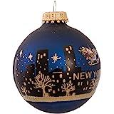 Kurt Adler New York Santa Skyline Painted Ball Ornament, 2-5/8-Inch