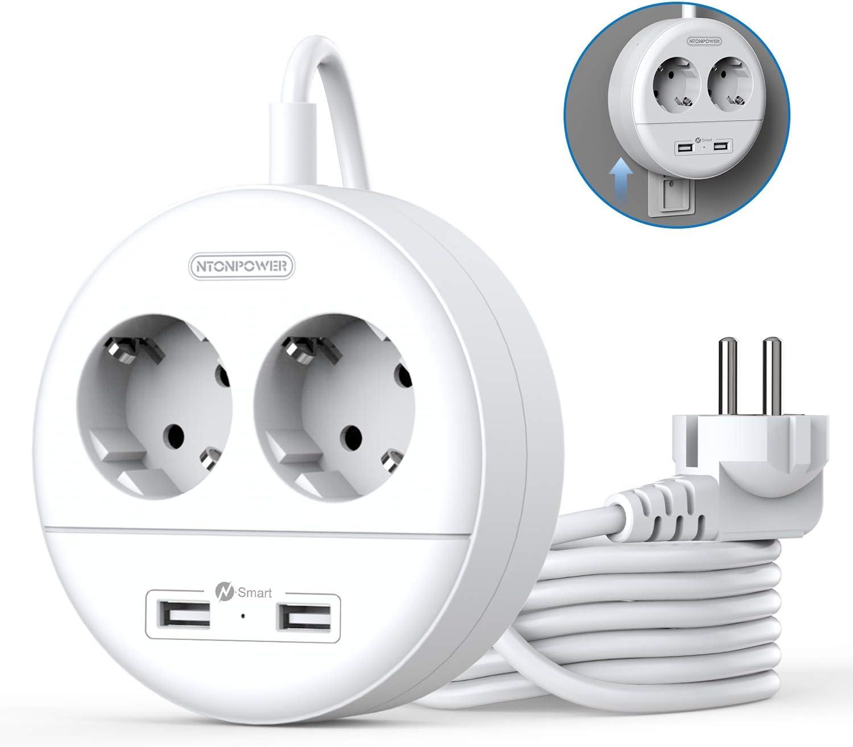 2500W Familias y Viaje Regleta Enchufes con USB Regleta de 2 Tomas 2 USB Carga Enchufe Multiple Adecuado para Oficina NTONPOWER Regletas de Montaje en pared Cable de 1.5 Metros