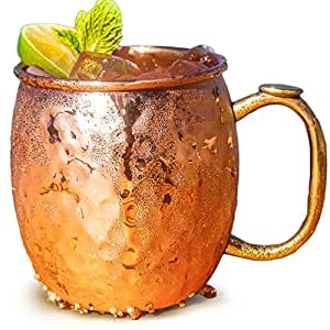 Drinkware Essentials Copper Mug for Moscow Mules. Premium 100% Pure Solid Copper 16oz Hammered Barware Cup For Cocktails & Beer.