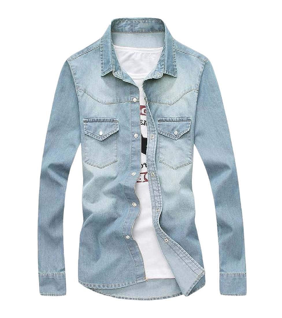 YUNY Men Buttoned Plus Size Slim Fit Cowboy Long-Sleeve Western Shirt Light Blue XL