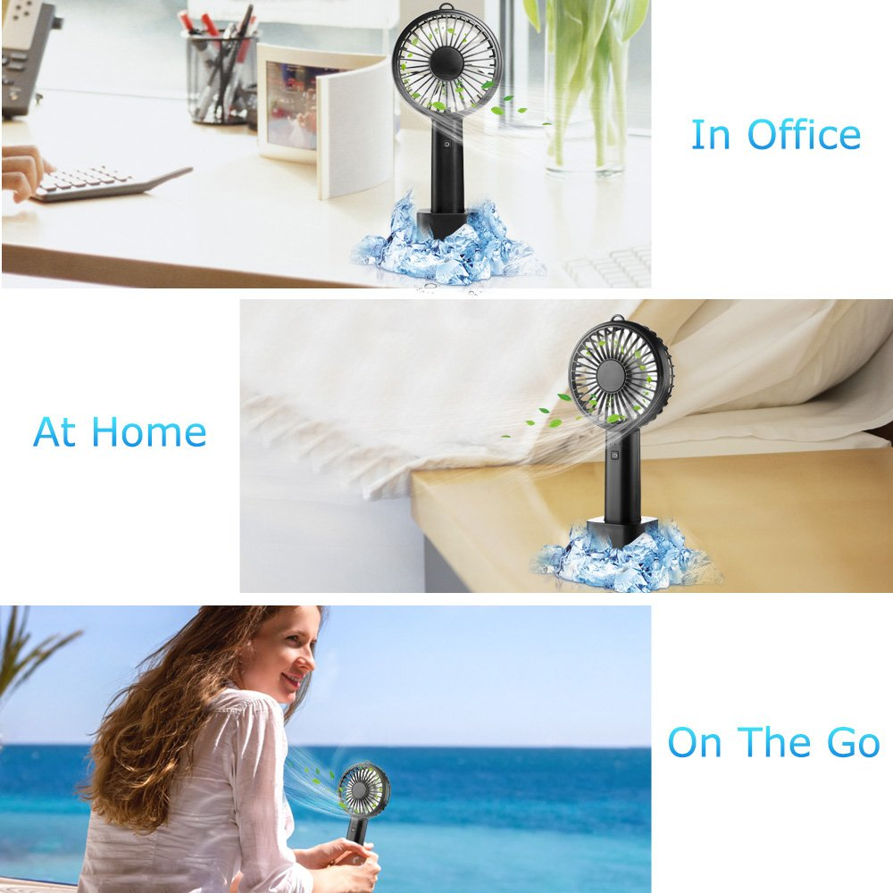 ifecco Mini Handheld Fan, Portable Mini fan with Build-in 2600mAh USB Rechargeable Fan for Outdoor Room Office Household Traveling (Black)