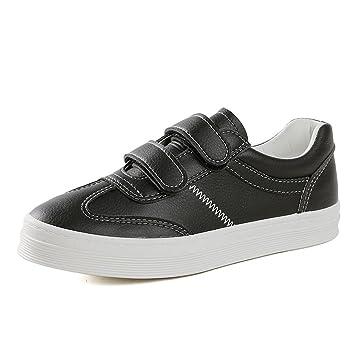 93ecf9d4e5781 SHI Zapatillas de Deporte de Velcro de Cuero Zapatos Ocasionales de Mujeres Zapatos  de Skate Planos cómodos y Transpirables (Color   Black